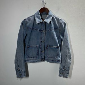 Levi's girl's jean jacket staining, fraying, holes